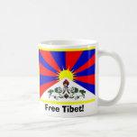 ¡Bandera tibetana - Tíbet libre! Tazas De Café
