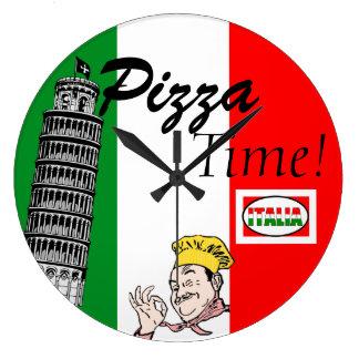 Bandera Tiempo-Italiana de la pizza Reloj Redondo Grande