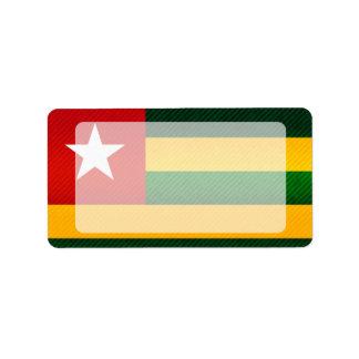 Bandera togolesa pelada moderna etiqueta de dirección