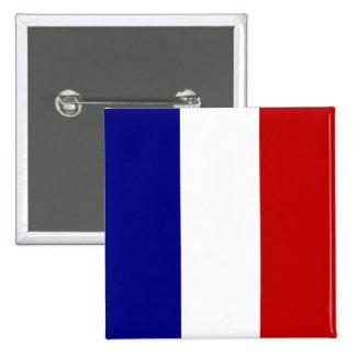 Bandera totalmente francesa pin cuadrado