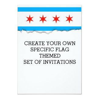 """Bandera tradicional de Chicago Invitación 5"""" X 7"""""""