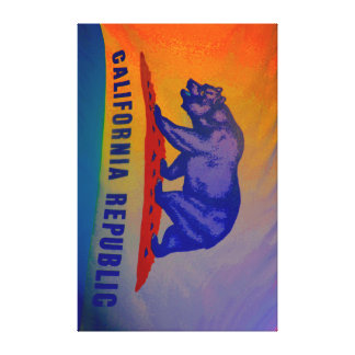 Bandera Trippy de California Lienzo Envuelto Para Galerías
