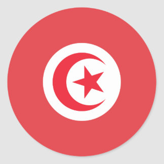 Bandera tunecina pegatina redonda