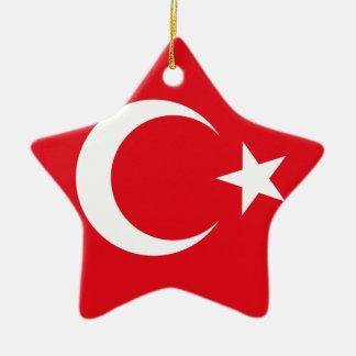 Bandera turca adorno navideño de cerámica en forma de estrella