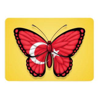 """Bandera turca de la mariposa en amarillo invitación 5"""" x 7"""""""