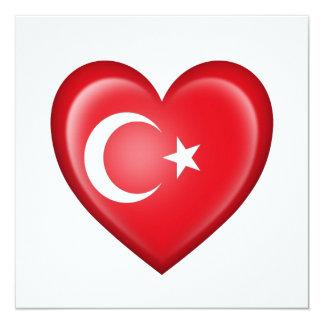 Bandera turca del corazón en blanco invitaciones personalizada