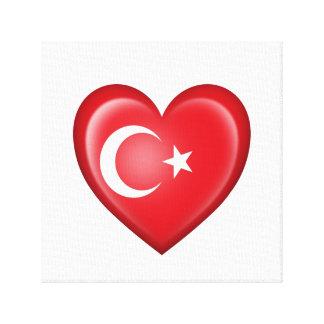 Bandera turca del corazón en blanco impresión en lienzo estirada