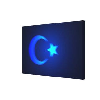 Bandera turca en tonos del azul impresión en lienzo