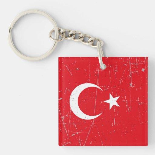 Bandera turca rascada y rasguñada llaveros