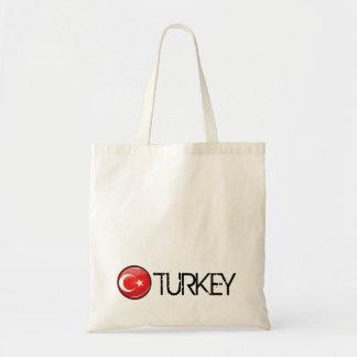 Bandera turca redonda brillante bolsa tela barata
