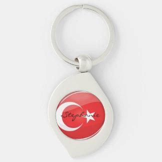 Bandera turca redonda brillante llavero plateado en forma de espiral