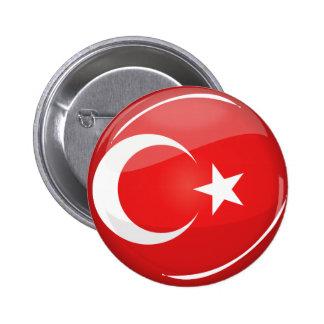 Bandera turca redonda brillante pin redondo 5 cm