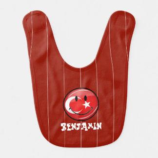 Bandera turca sonriente babero
