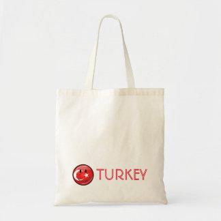 Bandera turca sonriente bolsa tela barata
