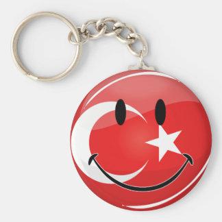 Bandera turca sonriente llavero redondo tipo pin