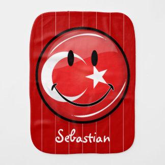 Bandera turca sonriente paños de bebé