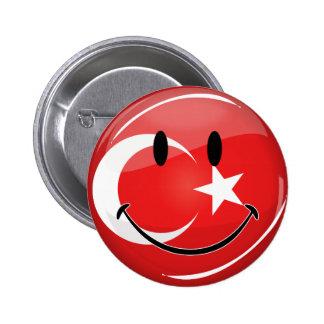 Bandera turca sonriente pin redondo 5 cm