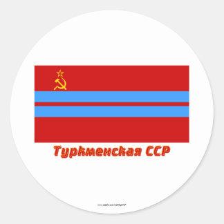 Bandera turcomana de SSR con nombre Pegatinas Redondas