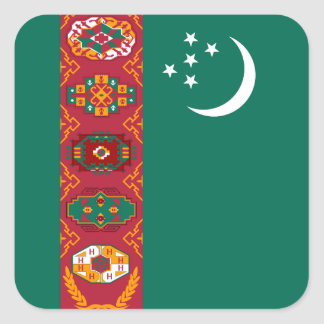 Bandera turcomana calcomania cuadradas personalizada