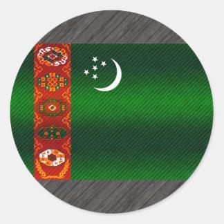Bandera turcomana pelada moderna pegatinas redondas