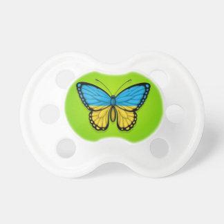 Bandera ucraniana de la mariposa en verde chupetes para bebes