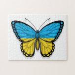 Bandera ucraniana de la mariposa puzzles