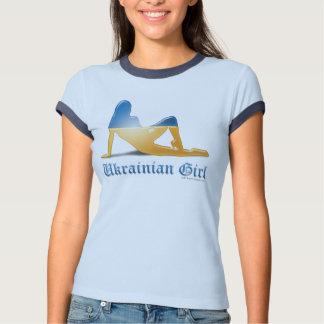 Bandera ucraniana de la silueta del chica camisas