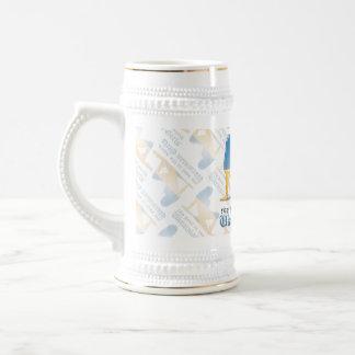 Bandera ucraniana de la silueta del chica jarra de cerveza