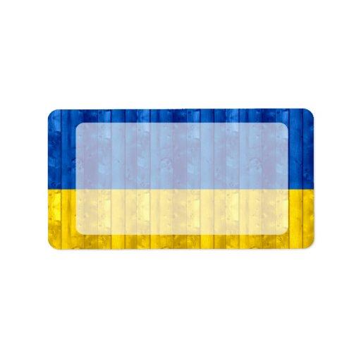 Bandera ucraniana de madera etiqueta de dirección