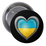 Bandera ucraniana del corazón con efecto del metal pins