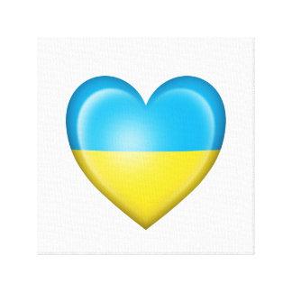 Bandera ucraniana del corazón en blanco impresión en lona