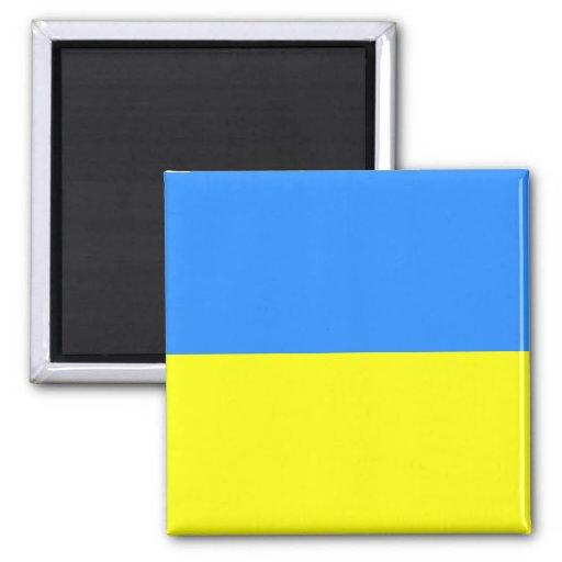 Bandera ucraniana imán cuadrado