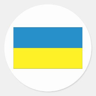 Bandera ucraniana pegatina redonda