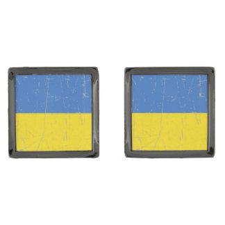 Bandera ucraniana rascada y rasguñada gemelos plomizos