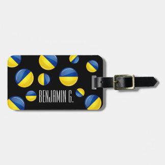 Bandera ucraniana redonda brillante etiqueta para maleta