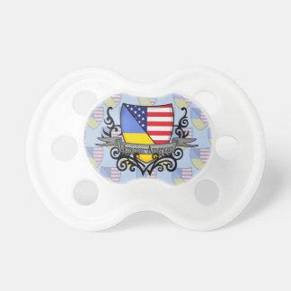 Bandera Ucraniano-Americana del escudo Chupete De Bebé
