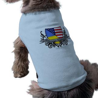Bandera Ucraniano-Americana del escudo Playera Sin Mangas Para Perro