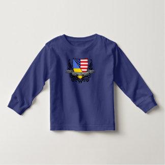 Bandera Ucraniano-Americana del escudo Remeras