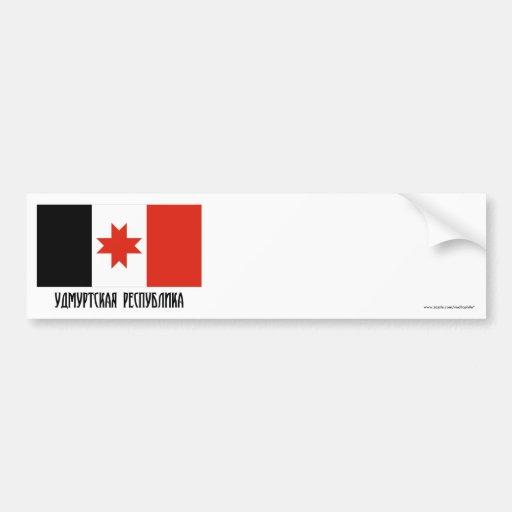 Bandera udmurta de la república etiqueta de parachoque