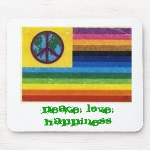 ¡bandera, un mundo! Paz, amor, felicidad, el PE… Alfombrillas De Ratones