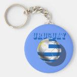 Bandera uruguaya del amor del fútbol del futbol de llavero redondo tipo pin