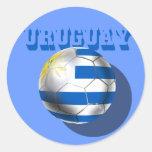 Bandera uruguaya del amor del fútbol del futbol pegatina redonda