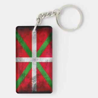 Bandera vasca apenada del estilo: Ikurriña, Llavero Rectangular Acrílico A Doble Cara