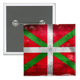 Bandera vasca apenada del estilo: Ikurriña, Pin Cuadrada 5 Cm
