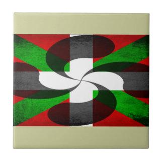 Bandera vasca y cruz azulejo