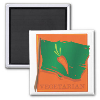 Bandera vegetariana de la zanahoria imán para frigorifico