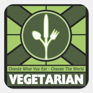 Bandera vegetariana pegatina cuadrada