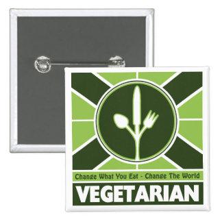 Bandera vegetariana pin cuadrado