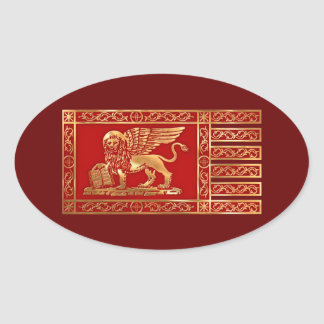 Bandera veneciana calcomania de oval