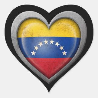 Bandera venezolana del corazón con efecto del calcomanías de corazones